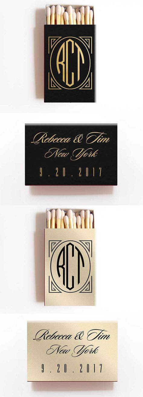 A perfect Art Deco favor for your Great Gatsby themed wedding. Our monogrammed matchbox wedding favors are personalized and beautifully foil stamped with the bride and groom's names and wedding date and wedding location.
