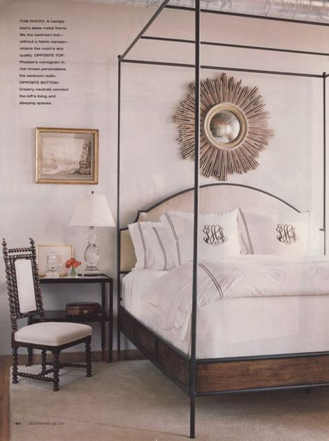 Best bed for the indecisive... wood, iron, and upholstered; room by James Michael Howard