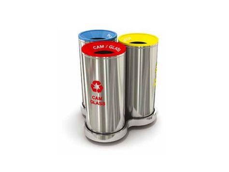 Wertstoffsammler Abfalltrennsystem aus Edelstahl Mak 629 A