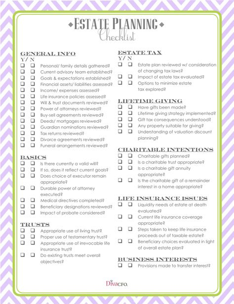 Estate Planning Checklist Estate Planning Checklist Funeral