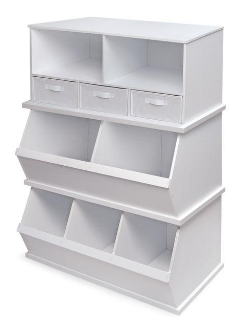 Badger Basket Three Bin Stackable Storage Cubby Red Walmart Com In 2020 Toy Storage Bins Cubby Storage Stackable Shelves