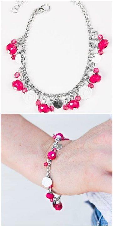 Fringe beaded bracelet in pinkhot pinkmagentawhite with magnetic sliding closure