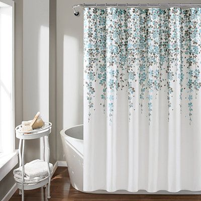 Blue And Gray Weeping Flower Shower Curtain Flower Shower