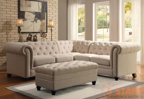 Based off the design a classic Chippendale sofa, this traditional sectional will be a stylish addition to your home. The piece features stunning diamond button-