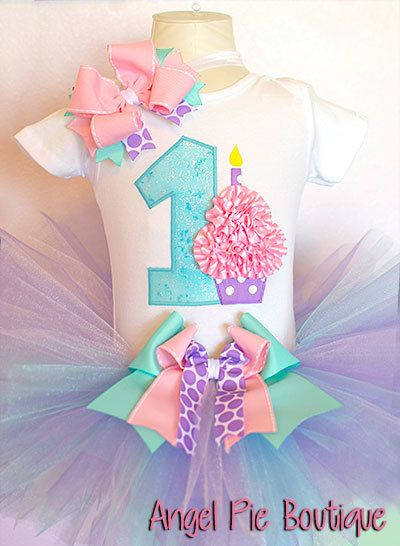 Baby Girls First Birthday Outfit - Number 1 Applique with Small Cupcake  Onesie, Tutu & Matching Headband - Taffy Pink, Aqua and Yellow via Etsy    Pinterest ... - Baby Girls First Birthday Outfit - Number 1 Applique With Small