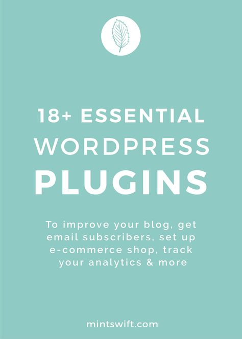 18+ Essential WordPress Plugins. To Improve Your Blog, Get Email Subscribers, Set Up E-Commerce Shop, Track Your Analytics & More