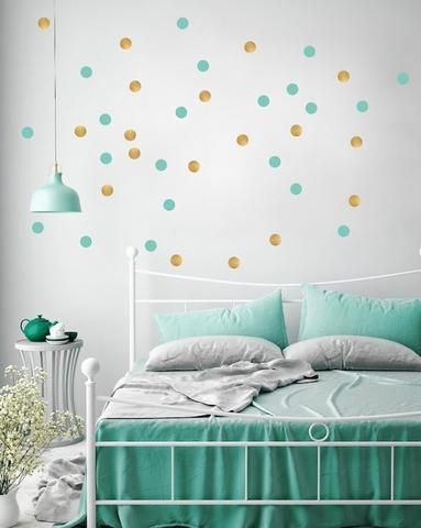 Dotty wall transfers in turquoise and gold | Girls Bedroom ...