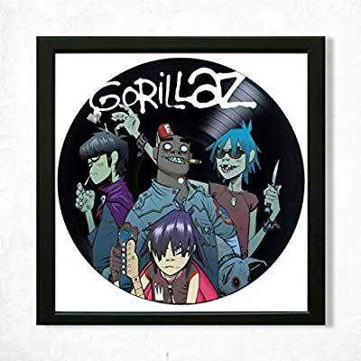 Gorillaz Framed Decor Vinyl 13 8x13 8 Gorillaz Band Unique Wall Art Decor Best Gift For Music Lover Ori Unique Wall Art Decor Unique Wall Art Frame Decor