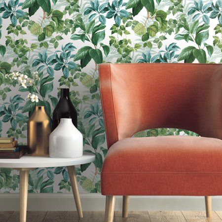 Roommates Rainforest Green Leaves Peel And Stick Wallpaper Walmart Com Peel And Stick Wallpaper Room Visualizer Wallpaper Roll