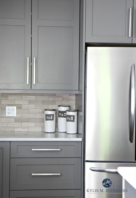 Shaker Style Kitchen Cabinet Painted In Benjamin Moore 1475 Graystone. The  Walls | Shaker Style Kitchen Cabinets, Shaker Style Kitchens And Kitchen  Cabinet ...