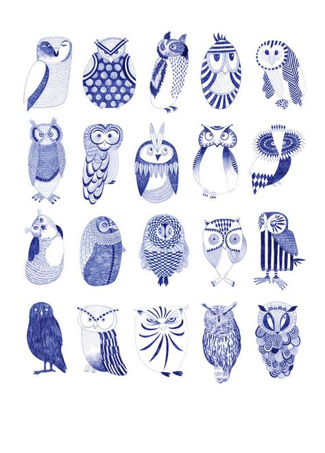 Need to use for owl paintings/cards/ watercolor or felt animals . from Karin Lindeskov- Owl street