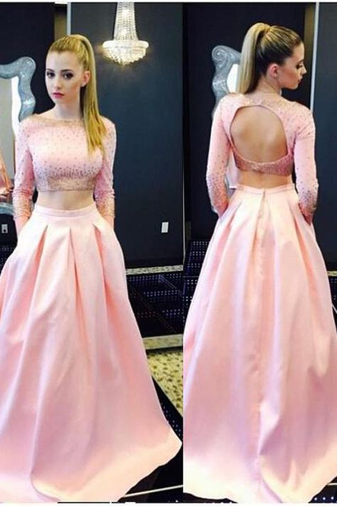 Pink Two Piece A Line Sweep Train Long Sleeve Keyhole Back Beading Long Prom Dress,Party Dress by MeetBeauty, $146.41 USD