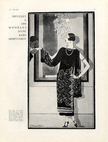 Doeuillet 1923 Evening Gown, Fashion Illustration by Douglas Pollard