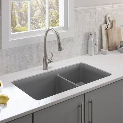 Riverby 33 L X 22 W Double Basin Undermount Kitchen Sink Best Kitchen Sinks Undermount Kitchen Sinks Double Bowl Kitchen Sink