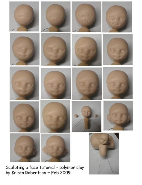 sculpting a polymer clay doll head - seems the original page is no longer there, but you can still follow the pics to some degree.