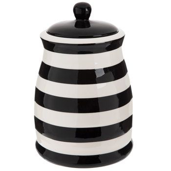 Black White Striped Canister White Canisters Dining Accessories Decorative Pillows