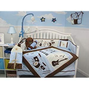 Soho Baby Crib Bedding 10pc Set Rockstar Blue Crib Bedding Crib Bedding Sets Boys Crib Bedding Sets Nursery Bedding Sets Baby Blue Bedding