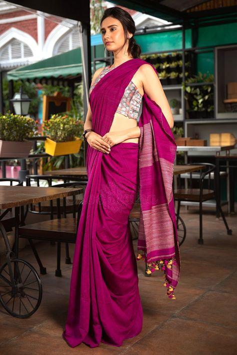 e7a5830da976e Purple Resham Noil Saree - Roopkatha - A Story of Art