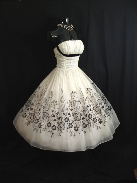 Reserved Vintage 1950's 50s STRAPLESS Bombshell Black White Floral Flocked Velvet Chiffon Organza Party Prom Wedding DRESS