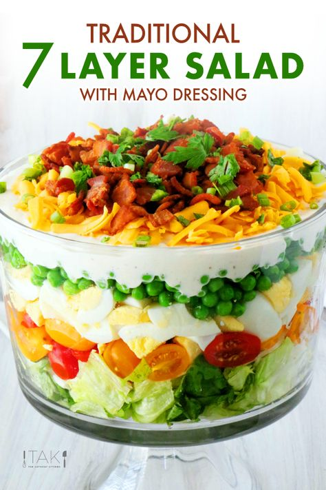 The best recipe for easy, make-ahead Salad! Made with traditional ingredients like peas, Iceberg lettuce, eggs, Layered Salad With Peas, 7 Layered Salad Recipe, Seven Layer Salad Dressing Recipe, Layered Salads, Lettuce Recipes, Soup And Salad, Pasta Salad, Crab Salad, Cheese Salad