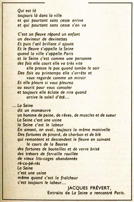 Jacques Prévert La Seine A Rencontré Paris Prevert Poeme