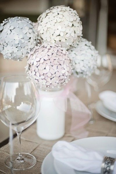 DIY Hydrangea flower centerpiece...could also do it as Christmas Tree balls or holiday displays around the house...easy and with pain chips