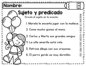 Sujeto y predicado Subject and Predicate in SPANISH | Subject and  predicate, Predicates, Speech and language