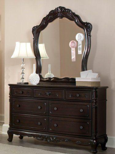 Cinderella Dresser Mirror By Homelegance In Dark Cherry Dresser With Mirror Traditional Bedroom Furniture Cherry Wood Dresser