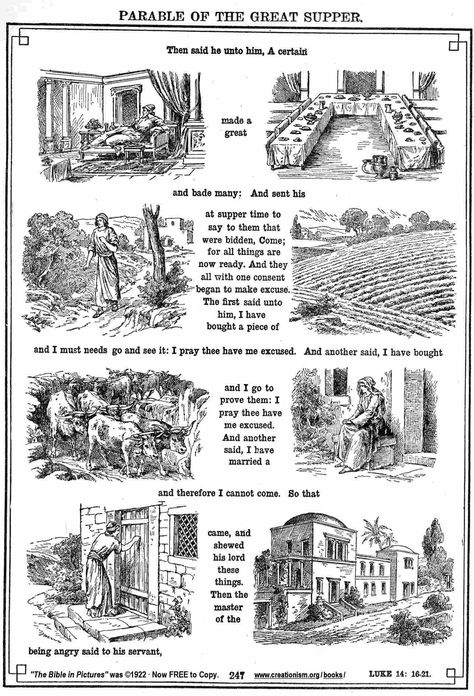 Parable Of The Wedding Feast Coloring Page Luke Parable Related