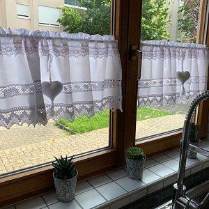 Country Gardine Heart Terracotta Topper Farmhouse Curtain Shabby Chic Vintage Scheibengardine Kitchen Valance Cantonniere Window Valance 264 Country Style Curtains Curtains Nursery Curtains