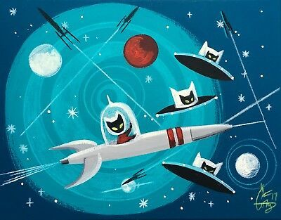 EL GATO GOMEZ RETRO OUTER SPACE ROCKET FLYING SAUCER CAT FUTURISTIC SCI-FI POP