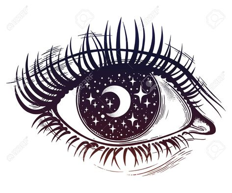 Beautiful realistic psychedelic eye with a pupil as a starry sky with moon, looking into a night sky. Isolated vector illustration. Surreal trippy hippie art, sticker, tattoo. Trendy print. Stock Vector - 99375643