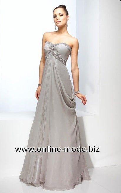 Empire Abendkleid In Silber Grau Online Event Kleider Abendkleid Schone Ballkleider