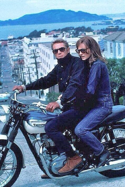 Steve McQueen with Jacqueline Bissett on his Triumph during shooting for Bullitt in San Francisco (1968)