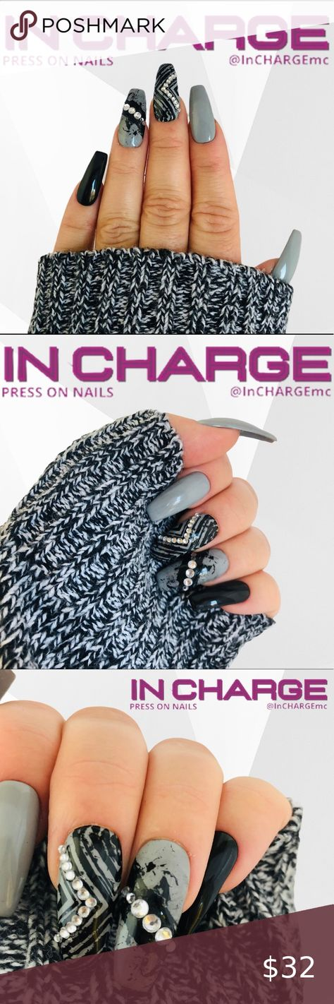 Spotted while shopping on Poshmark: InCHARGE Custom Press On Nails, Black/Gray, Bling! #poshmark #fashion #shopping #style #InCHARGE #Other