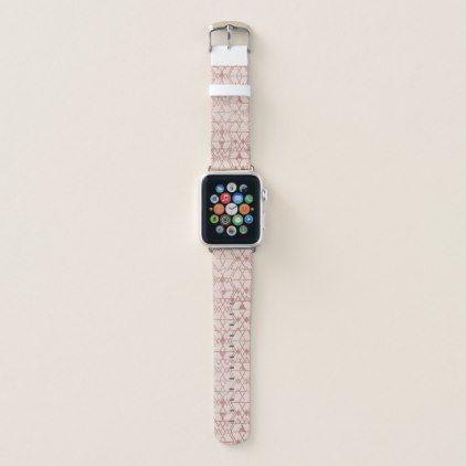 Pink Rose Gold Glitter Triangle Tribal Geometric Apple Watch Band