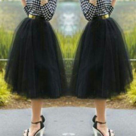 ♥SOLD-♥Brand new tuelle skirt Black tuelle skirt with elastic waistband Lan Bei Si Skirts Midi