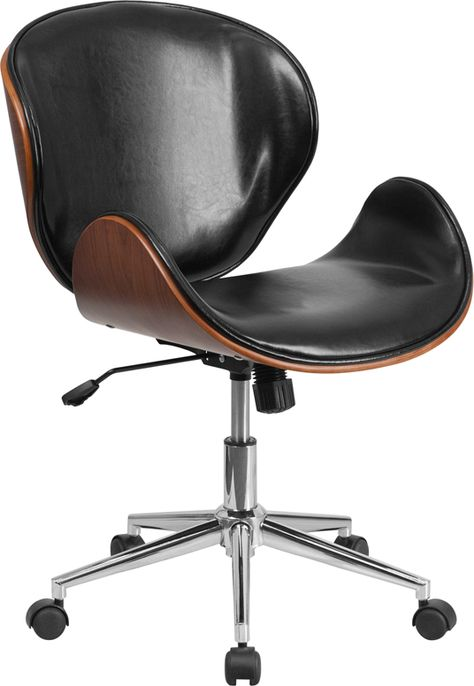 Mid Back Walnut Wood Conference Office Chair In Black Leathersoft