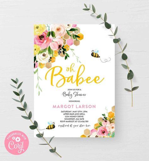 Colorful Garden Blooms Boho Baby Brunch Cottage Flowers Spring Floral Bouquet Baby Shower Invitation Editable Corjl Template 126