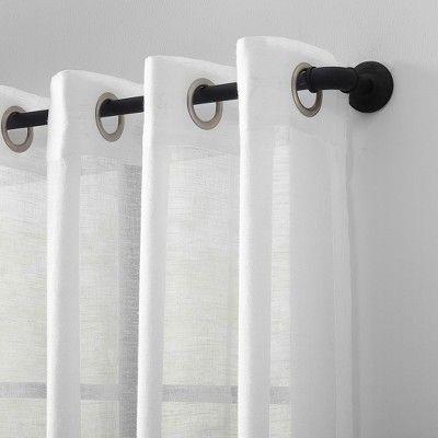 52 X84 Slub Textured Linen Blend Grommet Top Curtain White