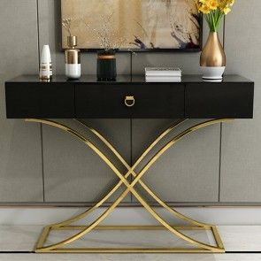 White Black Console Table With Drawer Entryway Table Contemporary For Hallway X Gold Base In 2020 Table Decor Living Room Entryway Table Modern Entrance Table Decor