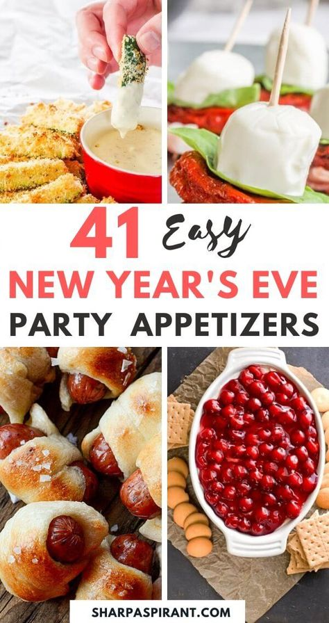 #appetizers #Aspirant #easy #Eve #Party #Sharp #Years 41 Easy New Year's Eve Appetizers | Looking for easy party appetizers, finger foods, and canapes for a crowd? These make ahead party appetizers are perfect for New Year's Eve party, for birthdays and other holiday parties. You can find party appetizers: garlic cheese bread, dips, cold appetizers and cheap snacks if you're on a budget. #partyappetizers #finge