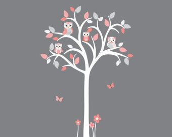 White Tree Wall Decal Girl Owl tree wall decal Pink and grey