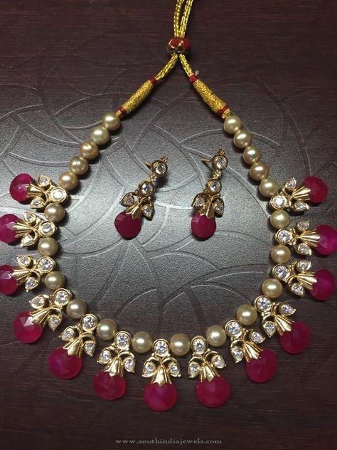 9f75dec90f509c Pearl Ruby Necklace Designs, Pearl Necklace with Rubies, Indian Pearl  Necklace Designs.