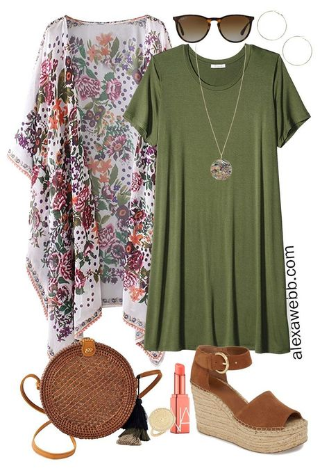 Plus Size Beach Vacation Outfits with a t-shirt dress, boho kimono, straw rattan crossbody, and platform espadrilles. Alexa Webb Plus size beach vacation outfits with a boho kimono. Swimwear plus some casual outfits with denim shorts and a t-shirt dress. Kimono Outfit, Boho Kimono, Outfit Jeans, Floral Kimono, Plus Size Beach Dresses, Outfits Plus Size, Plus Size Holiday Outfits Summer, Plus Size Clothing, Beach Outfits Women Plus Size