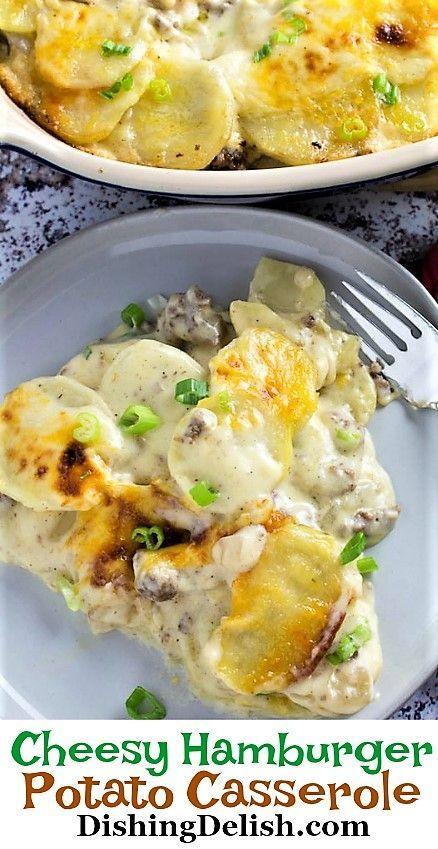 Cheesy Hamburger Potato Casserole Recipe Is A Gluten Free Family Favorite Creamy Chee Hamburger Potato Casserole Easy Potato Recipes Potatoe Casserole Recipes