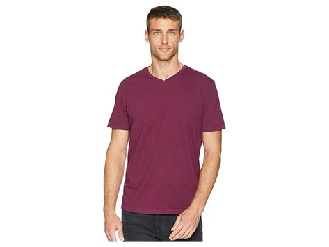 Mod-o-doc Del Mar Short Sleeve V-Neck Tee (Mulberry) Men's T Shirt. Dress up that daily denim with this versatile Mod-o-doc tee. Vintage fit is trim and contemporary  but not tight. Classic  lightweight  cotton jersey is garment dyed and garment washed for a luxuriously soft finish. Shallow  rib knit V-neckline. Short-sleeve coverage. Straight hemline. 100% cotton. Machine wash cold  tumble dry low. Imported. Measurements: Len #Mod-o-doc #Apparel #Top #TShirt #Purple