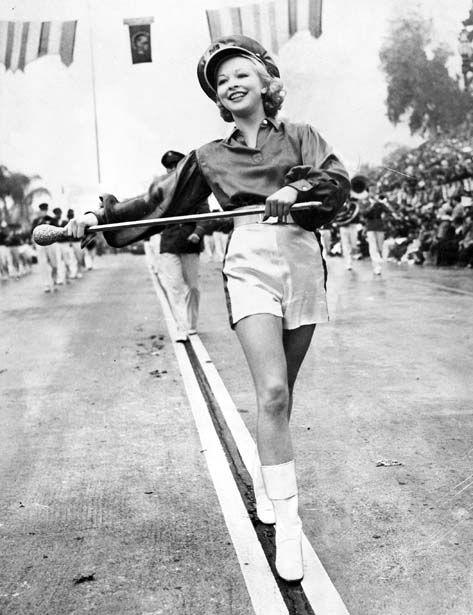 A majorette at the 1940 Rose Parade via LA Times