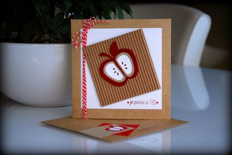handmade card from Currants & CO ... kraft with red and white .. die cut apple on corrugated square ... like the red inking on the raised areas ... square format ... bakers' twine wrap ... matching envelope ... great card!