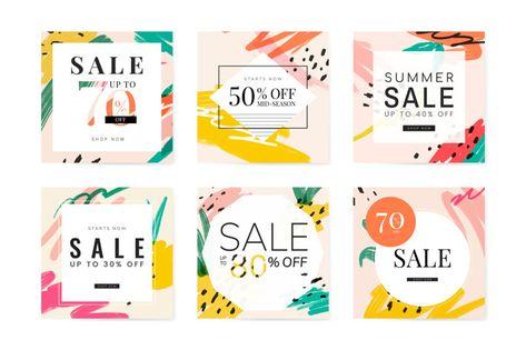 Memphis summer sale design collection Free Vector